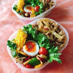 豚丼と夏野菜のカラフル弁当だず。