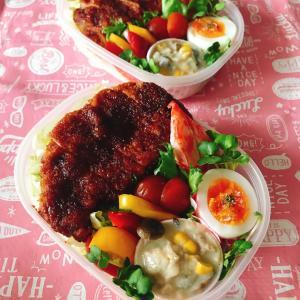 ソースカツ丼には似つかわしくない彩り弁当。久々の外勤日になりました!