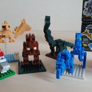 【恐竜シリーズ】キッズブロック(マイクロブロック)で遊ぶ。簡単レビューと作り方解説【セリア】