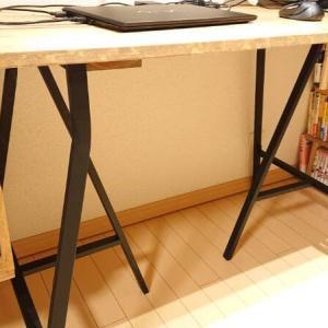 机の脚を「鉄脚っぽく」黒で塗装するよ。IKEAの架台LERBERG(レールベリ)をリメイク