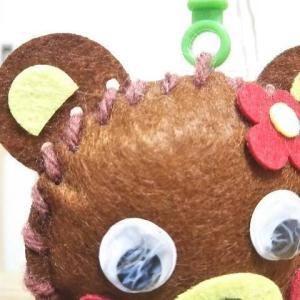 【100均で安くて安全に手芸体験】クマのマスコット作りが簡単でかわいい。