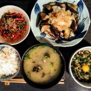 秋刀魚、茄子、里芋のおろしがけ