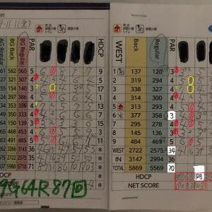 今日のゴルフ挑戦記(290)/東名厚木CC/ウエスト→アウト(B)