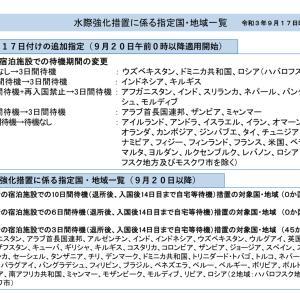 水際強化措置に係る指定国・地域一覧 令和3年9月17日時点