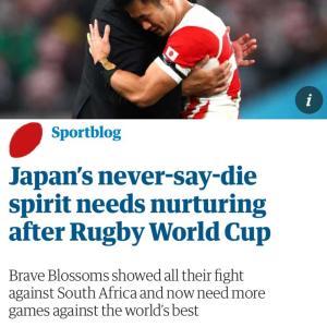 ラグビー、The Guardianのコラム、奔放。