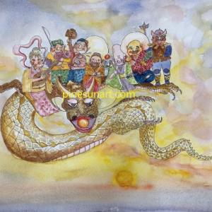 A Dragon and seven lucky Gods in dawn…夜明けの龍と七福神。