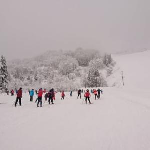 小学校のクロスカントリースキーチーム練習付き添い