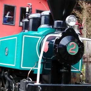 馬路村森林鉄道に乗って、馬路村温泉に向かうジョニー山中