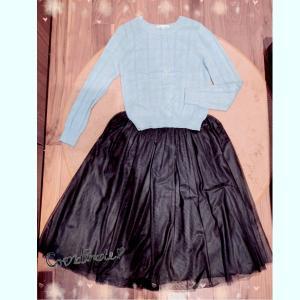 日曜休日コーデ☆黒のチュールスカート