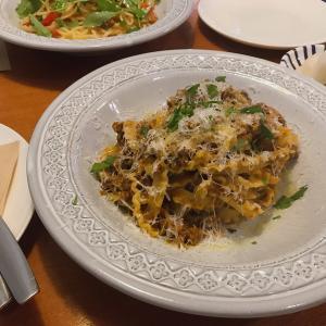 パスタと韓国のさつま芋