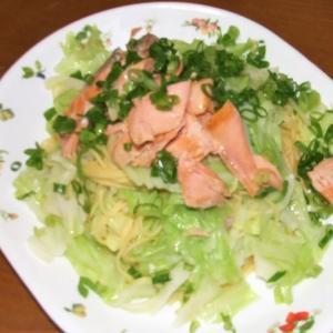 甘塩鮭とキャベツのスパ&じゃこと野菜のかき揚げ
