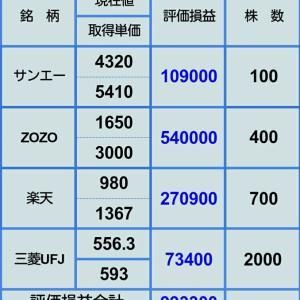 【また評価損が100万円に近づく】2月25日 株評価損益