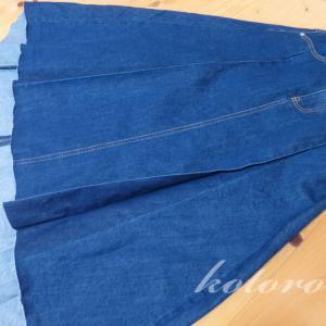 パネルプリーツのロングデニムスカートは、大人かわいい♪