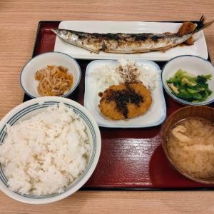 関西空港のかっぽうぎでサンマとコロッケを食う愉快なおっさん