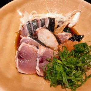 深江橋の和たなべ屋でヨコワのタタキを食う愉快なおっさん