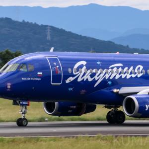 【速報!撮って出し!】熊本空港にヤクーツク航空のスホーイ・スーパージェットSSJ-100が飛来!