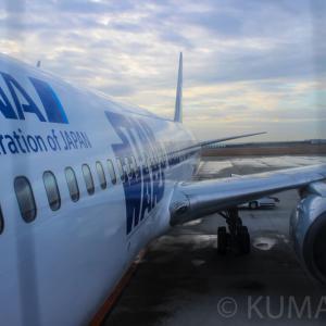 【羽田(HND)→神戸(UKB)】神戸空港開港10周年記念の放水アーチを機内から撮影!全日本空輸(ANA)B767-300スター・ウォーズANAジェット搭乗記