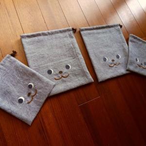 <minne>くまデザインの片側紐の巾着4点 オーダー製作