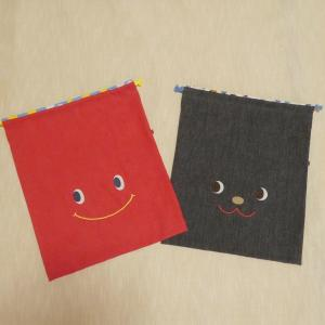 <creema>38×32サイズ 赤と黒 巾着2点オーダー制作