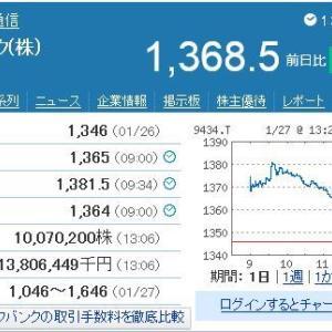 【NISA口座枠】NISAで買ったソフトバンクが今日は高いです。 v(・_・) ブイッ