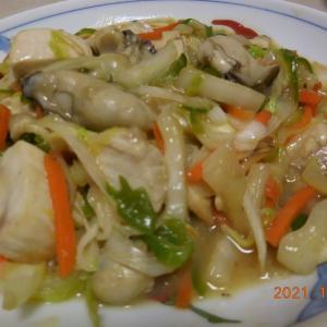 牡蠣とカジキマグロの野菜炒め