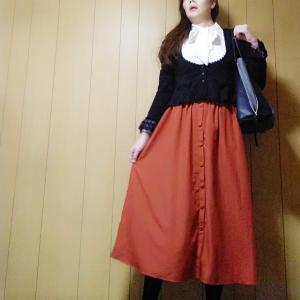 【GU】カボチャ色のスカートでハロウィンコーデ♪