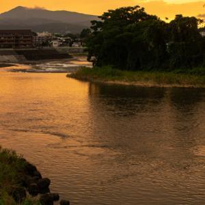 白川の夕焼け(渡鹿堰)