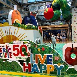 先月やっていた「はらぺこあおむし誕生50周年記念展示ブース」、規模の大きさにビックリです。