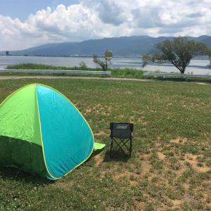 信州アウトドアビギナー:ポップアップテントを買って諏訪湖畔で過ごしてみた。