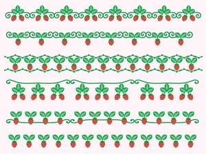 苺のラインイラスト(イラスト素材)