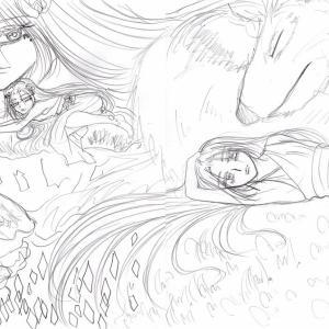 イラスト★123〜麗しのピアニッシモとレッチェ下絵。
