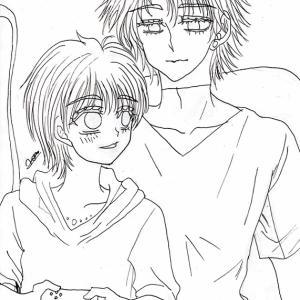 イラスト★128〜オリビア様と涼ちゃん仲良くゲーム、ペン入れまで。