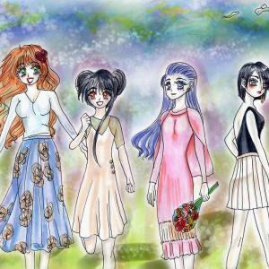 イラスト★129〜SECHS1女の子4人『もうすぐ春ですね』+ヘッダー更新12。