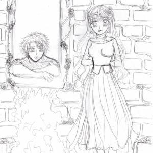 イラスト★130〜SECHS1眠り姫(男)と学園の令嬢、下絵。