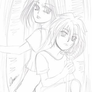 イラスト★221〜レッチェとヤミラ*虫取り、下絵。