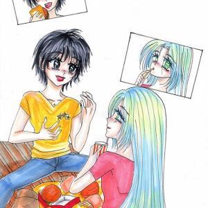 SECHS1★1ページ漫画〜ベンチでおしゃべり。