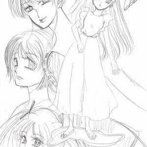 イラスト★247〜作品時系列バラバラ女の子達、下絵。