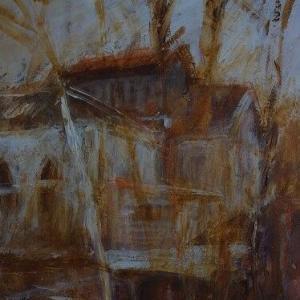 フランス風景画 冬枯れの廃工場 小品スケッチ
