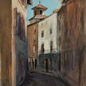 フランス風景画の旅 塔の見える路地 ART PEINTURE THIZY