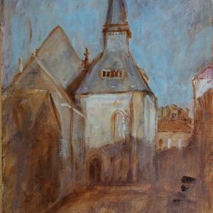 フランス風景画 セリフォンテーヌの教会 art peinture Église Saint-Denis de Sérifontaine