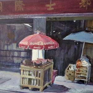 フランスの街角 チャイナタウン パラソルとスイカ 絵画制作日記