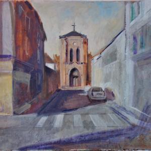 フランス絵画 街角 昼下がりの教会