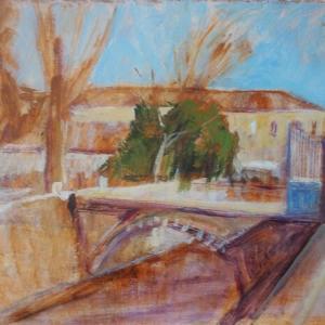 フランス絵画 庭への入り口 橋の在る風景