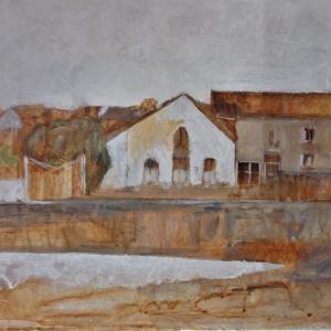 フランス絵画 川向うの風景
