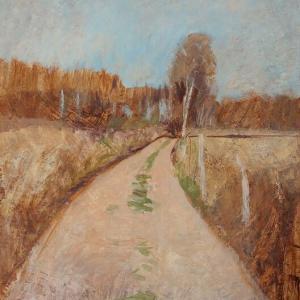 フランス風景画 白樺と森への道