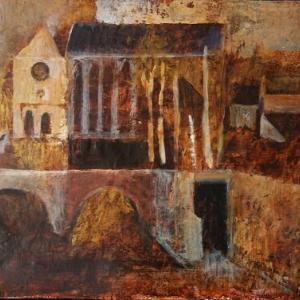 フランス風景画 ノルマンディーの想い出 古橋と散歩道