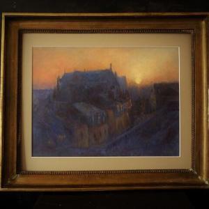 フランス風景画 ナントの夜明け 額装作業