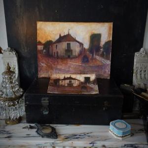 フランス風景画 夕暮れの並木と白い家