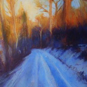 フランス風景画 冬落日 森へ続く道