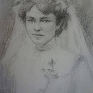 鉛筆デッサン プラハの花嫁
